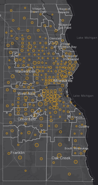 October 9th COVID-19 Milwaukee County - New Cases in Last 7 Days