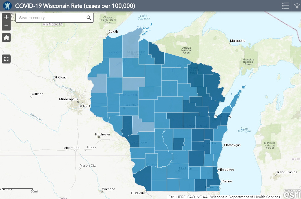 October 10th COVID-19 Wisconsin Cases Per 100,000 Residents Mape