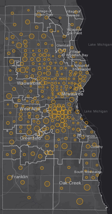 October 16th COVID-19 Milwaukee County - New Cases in Last 7 Days
