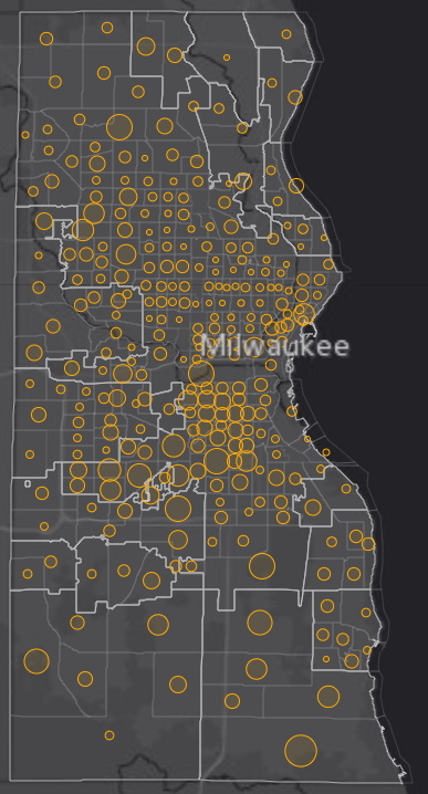 October 21st COVID-19 Milwaukee County - New Cases in Last 7 Days