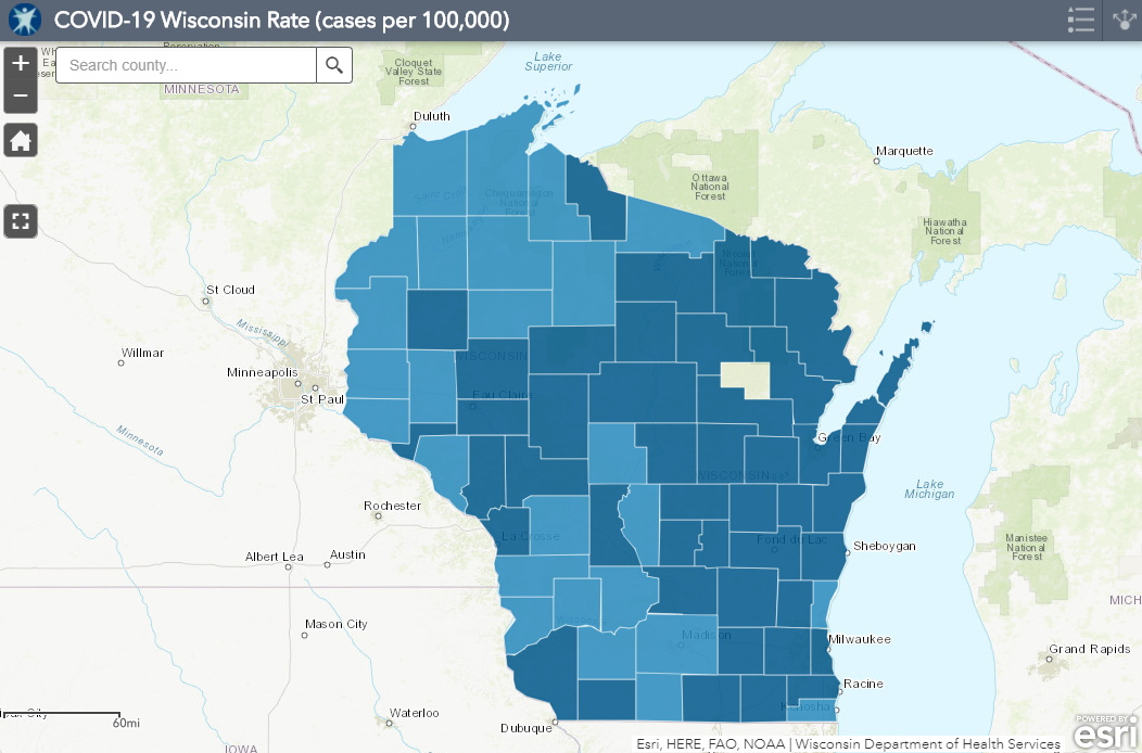 November 19th COVID-19 Wisconsin Cases Per 100,000 Residents Map