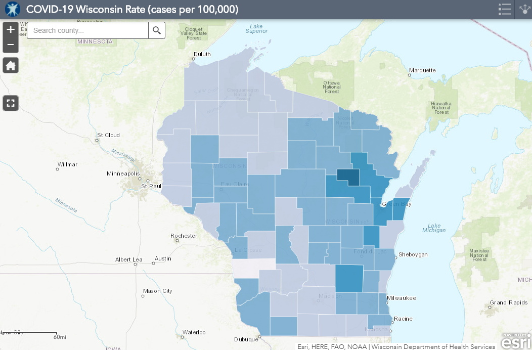 November 26th COVID-19 Wisconsin Cases Per 100,000 Residents Map