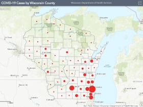 April 10th COVID-19 Wisconsin Case Map