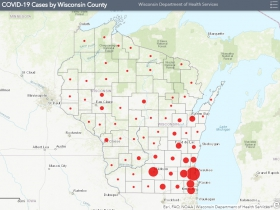 April 12th COVID-19 Wisconsin Case Map