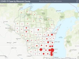 April 13th COVID-19 Wisconsin Case Map