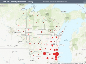 April 15th COVID-19 Wisconsin Case Map
