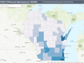 May 2 COVID-19 Wisconsin Cases Per 100,000 Residents Map