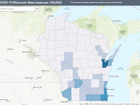 May 5 COVID-19 Wisconsin Cases Per 100,000 Residents Map