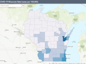 May 10 COVID-19 Wisconsin Cases Per 100,000 Residents Map