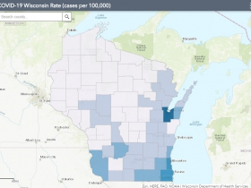 May 11 COVID-19 Wisconsin Cases Per 100,000 Residents Map