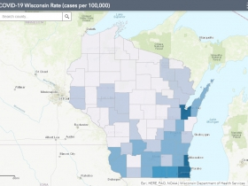 May 19 COVID-19 Wisconsin Cases Per 100,000 Residents Map