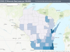 May 22 COVID-19 Wisconsin Cases Per 100,000 Residents Map