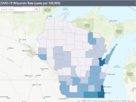 May 24 COVID-19 Wisconsin Cases Per 100,000 Residents Map