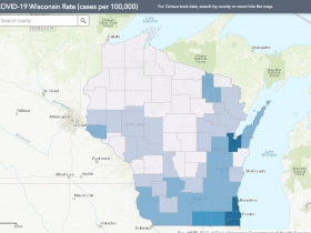 May 26 COVID-19 Wisconsin Cases Per 100,000 Residents Map