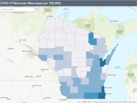 May 30 COVID-19 Wisconsin Cases Per 100,000 Residents Map