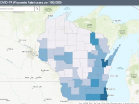 June 3rd COVID-19 Wisconsin Cases Per 100,000 Residents Map