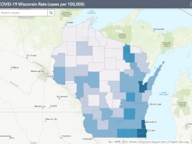 June 9 COVID-19 Wisconsin Cases Per 100,000 Residents Map