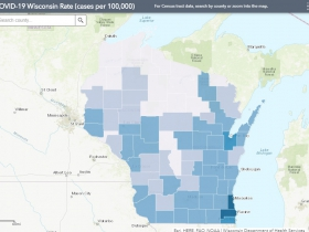 June 15 COVID-19 Wisconsin Cases Per 100,000 Residents Map