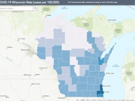 June 18 COVID-19 Wisconsin Cases Per 100,000 Residents Map