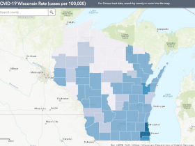June 21 COVID-19 Wisconsin Cases Per 100,000 Residents Map
