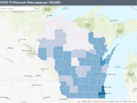 June 22 COVID-19 Wisconsin Cases Per 100,000 Residents Map