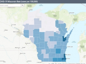 June 24 COVID-19 Wisconsin Cases Per 100,000 Residents Map