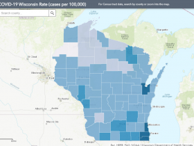 July 15 COVID-19 Wisconsin Cases Per 100,000 Residents Map