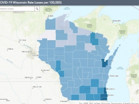 July 18 COVID-19 Wisconsin Cases Per 100,000 Residents Map