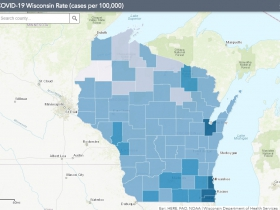 July 19 COVID-19 Wisconsin Cases Per 100,000 Residents Map