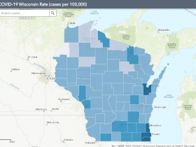 July 21 COVID-19 Wisconsin Cases Per 100,000 Residents Map