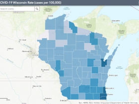 July 23 COVID-19 Wisconsin Cases Per 100,000 Residents Map