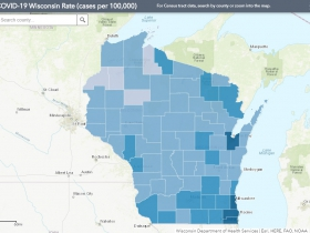 July 24 COVID-19 Wisconsin Cases Per 100,000 Residents Map