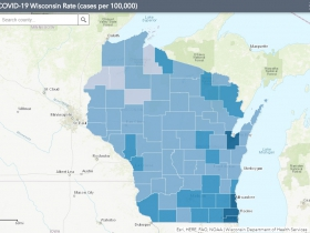 July 25 COVID-19 Wisconsin Cases Per 100,000 Residents Map