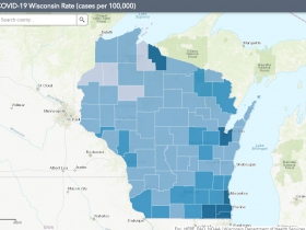 July 26 COVID-19 Wisconsin Cases Per 100,000 Residents Map