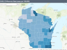 July 28 COVID-19 Wisconsin Cases Per 100,000 Residents Map