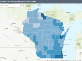 July 30 COVID-19 Wisconsin Cases Per 100,000 Residents Map