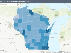 August 1st COVID-19 Wisconsin Cases Per 100,000 Residents Map