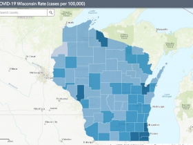 August 2nd COVID-19 Wisconsin Cases Per 100,000 Residents Map