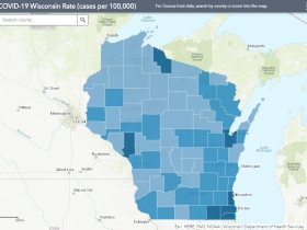 August 4th COVID-19 Wisconsin Cases Per 100,000 Residents Map