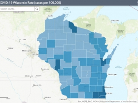 August 5th COVID-19 Wisconsin Cases Per 100,000 Residents Map