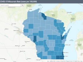 August 6th COVID-19 Wisconsin Cases Per 100,000 Residents Map