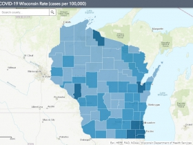 August 7th COVID-19 Wisconsin Cases Per 100,000 Residents Map