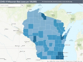 August 8th COVID-19 Wisconsin Cases Per 100,000 Residents Map