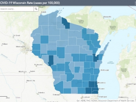 August 9th COVID-19 Wisconsin Cases Per 100,000 Residents Map