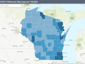 August 10th COVID-19 Wisconsin Cases Per 100,000 Residents Map