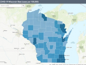 August 11th COVID-19 Wisconsin Cases Per 100,000 Residents Map