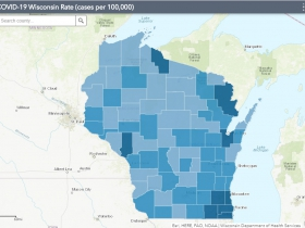 August 12th COVID-19 Wisconsin Cases Per 100,000 Residents Map