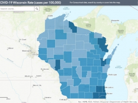 August 13th COVID-19 Wisconsin Cases Per 100,000 Residents Map