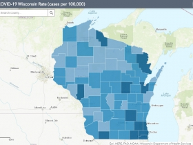 August 15th COVID-19 Wisconsin Cases Per 100,000 Residents Map
