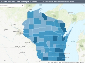 August 22nd COVID-19 Wisconsin Cases Per 100,000 Residents Map